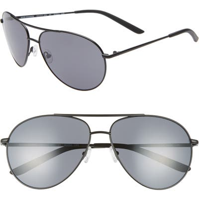 Nike Chance 61Mm Aviator Sunglasses - Satin Black/ Dark Grey