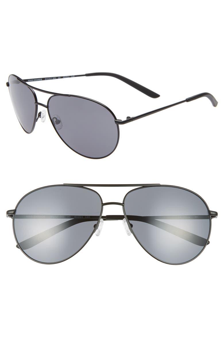 NIKE Chance 61mm Aviator Sunglasses, Main, color, SATIN BLACK/ DARK GREY