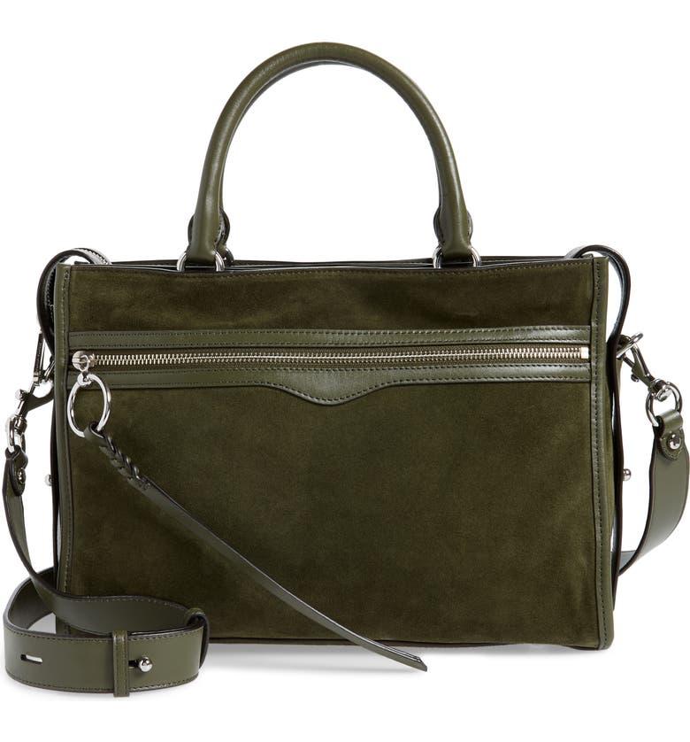 REBECCA MINKOFF Bedford Zip Leather Satchel, Main, color, HUNTER