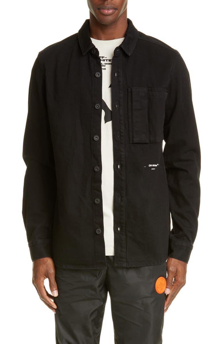 OFF-WHITE Denim Shirt, Main, color, BLACK SILVER