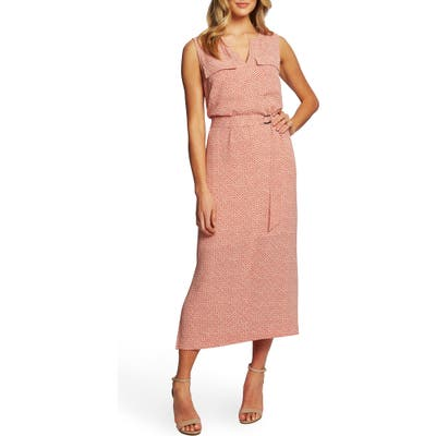 Chaus Sundried Tiles Tie Waist Mid Dress, Coral