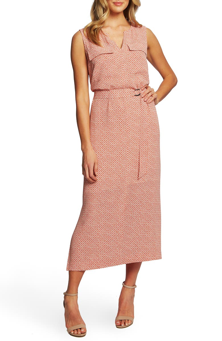 CHAUS Sundried Tiles Tie Waist Mid Dress, Main, color, LIGHT CORAL STONE