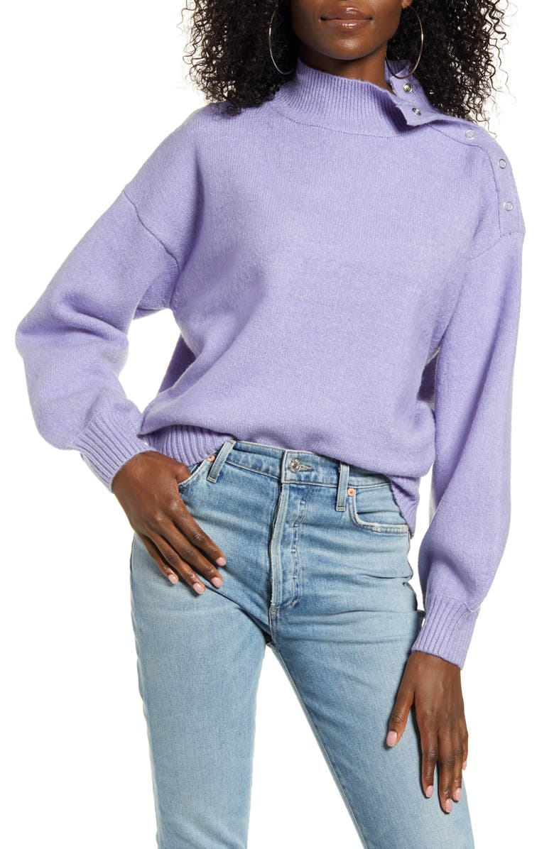 J.O.A. Mock Neck Sweater, Main, color, LAVENDER