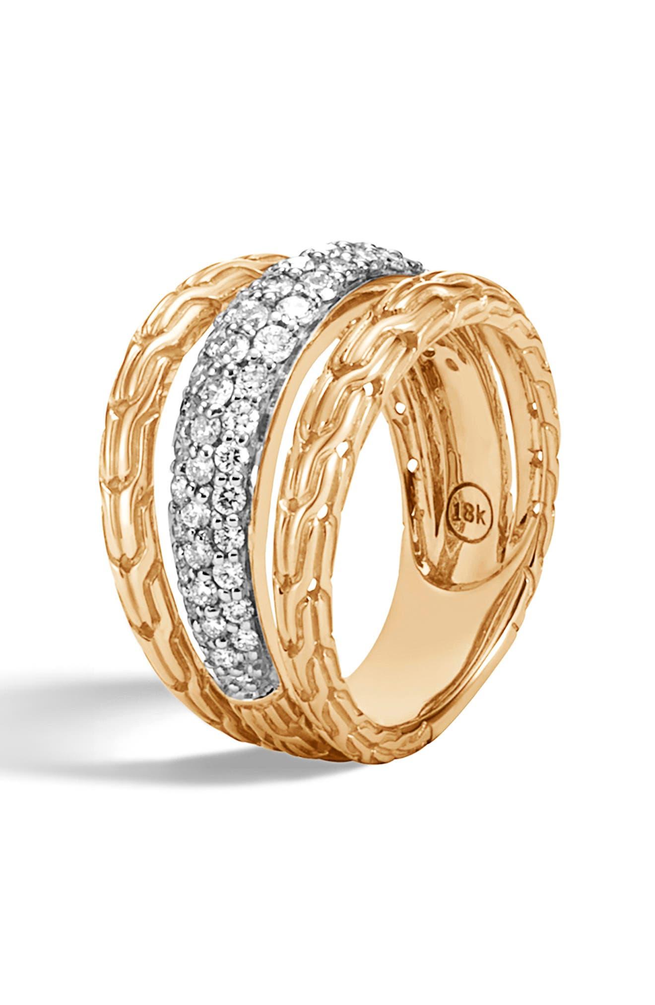,                             Classic Chain 18K Gold & Pavé Diamond Ring,                             Alternate thumbnail 4, color,                             GOLD