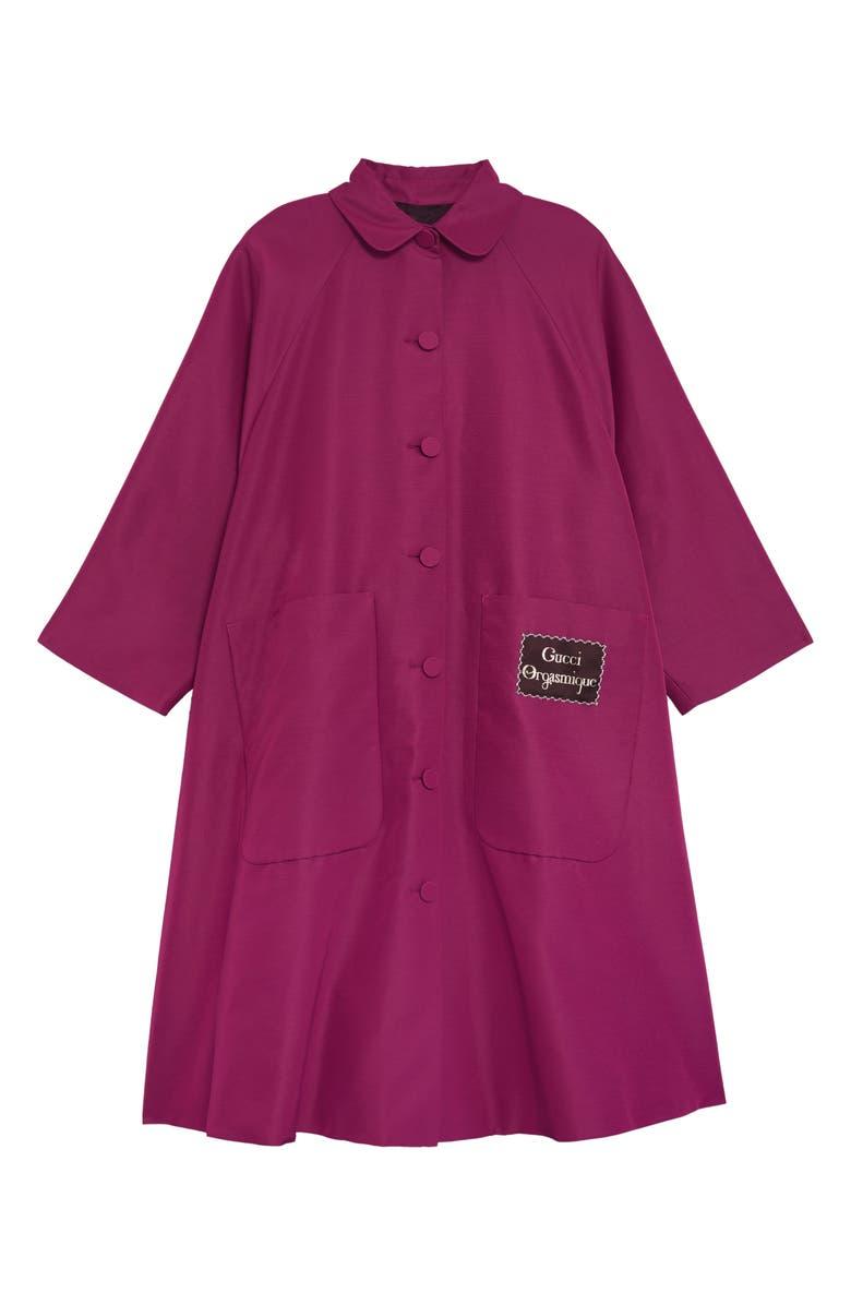 GUCCI Orgasmique Label Faille Swing Coat, Main, color, 652