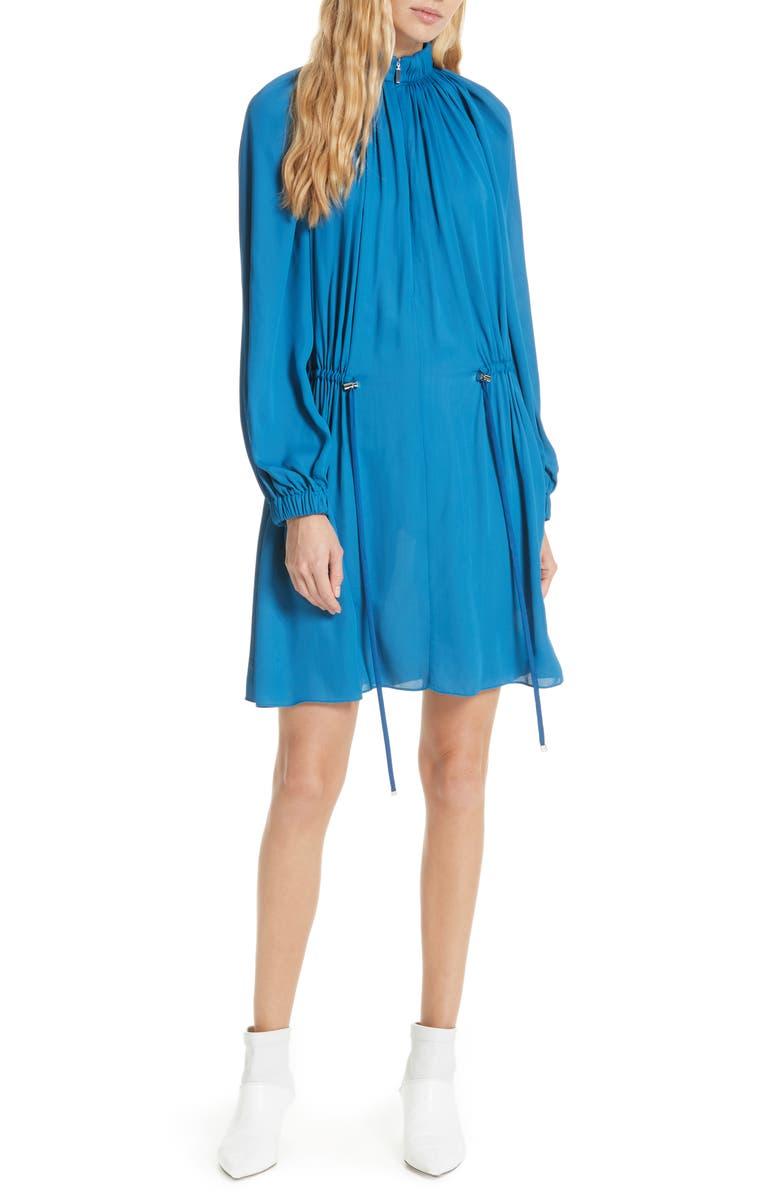 TIBI Side Drawstring Georgette Dress, Main, color, 414