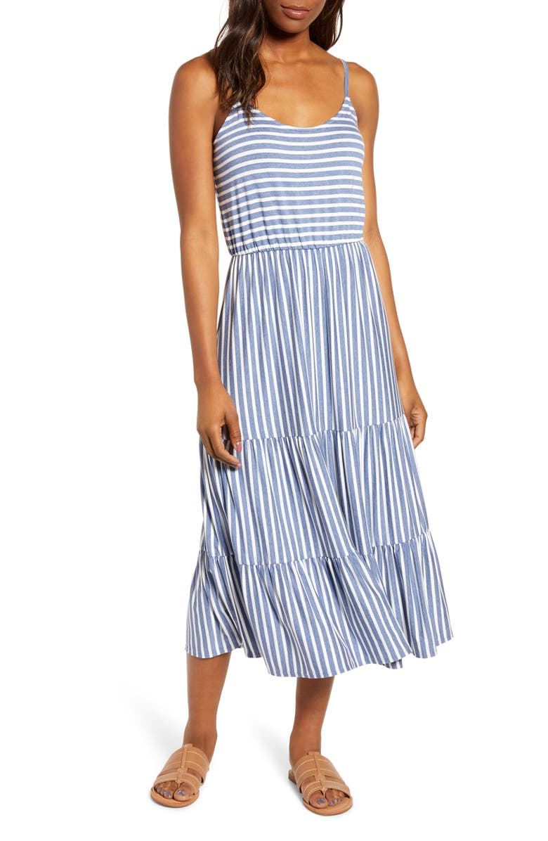 GIBSON x The Motherchic Sunset Tiered Knit Maxi Dress, Main, color, INDIGO STRIPE