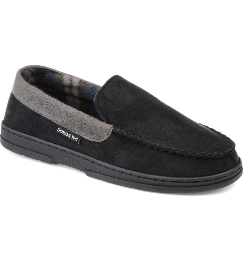 THOMAS & VINE Sterling Moccasin Slipper, Main, color, BLACK FAUX SUEDE