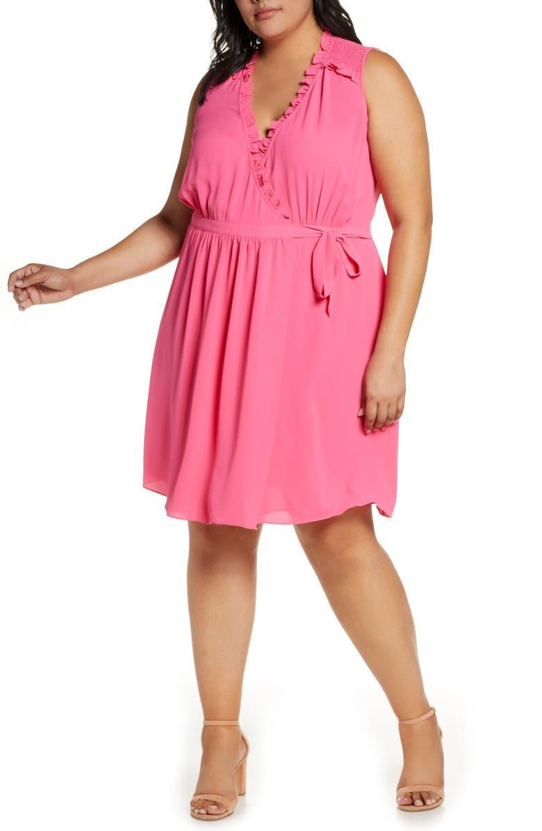 CECE Smock Detail Wrap Dress, Main, color, PINK FLAMINGO