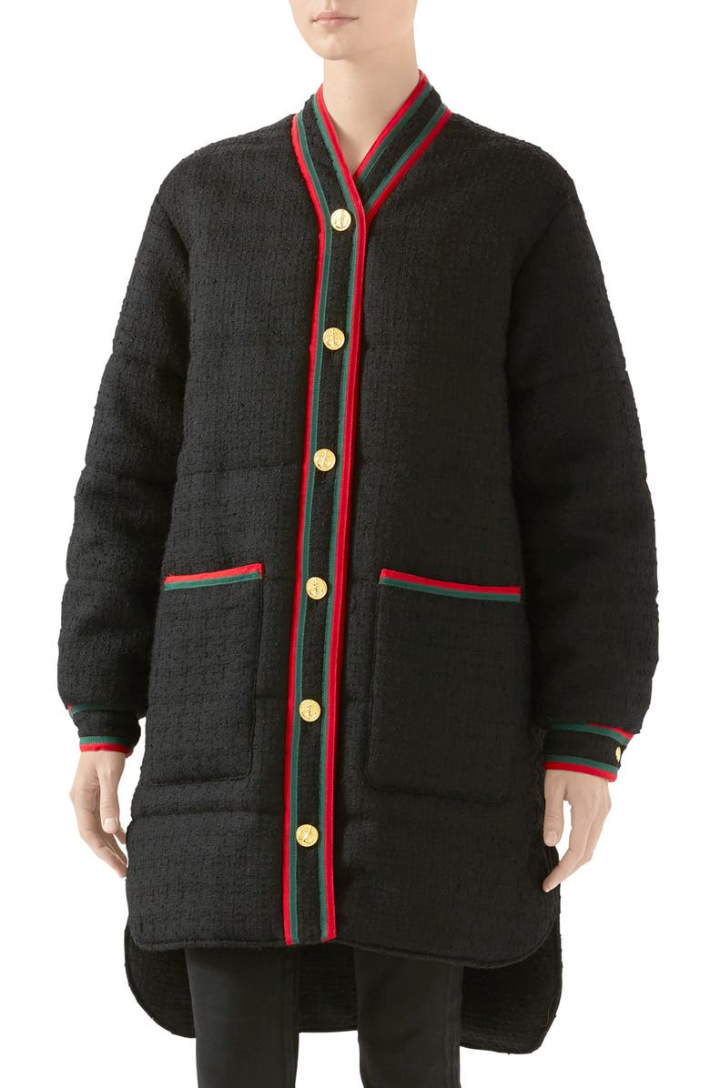 GUCCI Padded Wool Blend Tweed Jacket, Main, color, BLACK/ MIX
