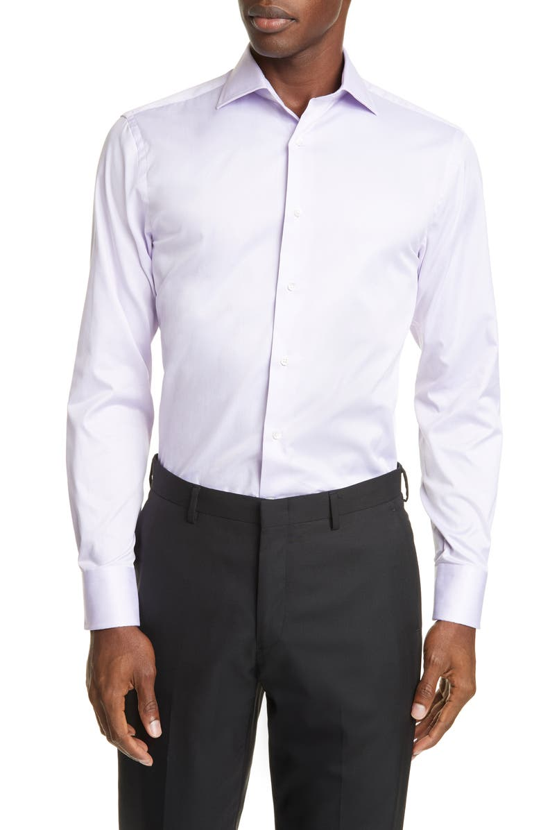 CANALI Trim Fit Solid Dress Shirt, Main, color, LIGHT PURPLE
