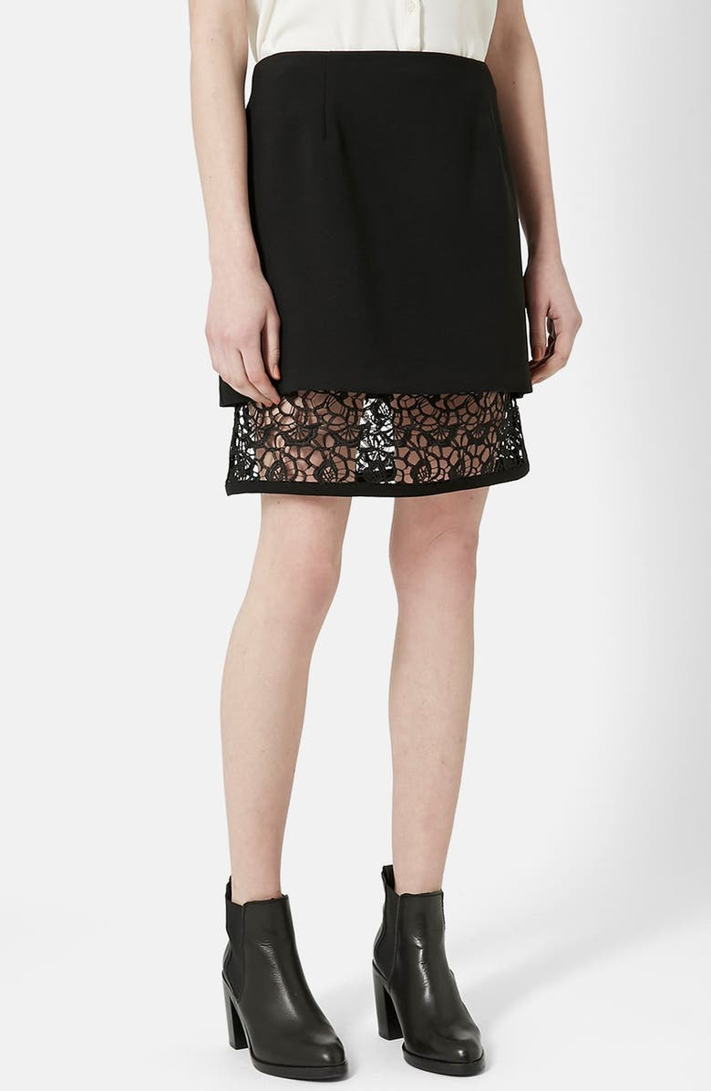 Topshop Lace Underlay A Line Skirt Nordstrom