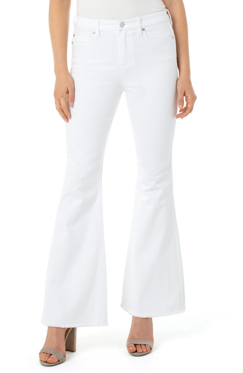 LIVERPOOL High Waist Frayed Hem Flared Jeans, Main, color, BRIGHT WHITE