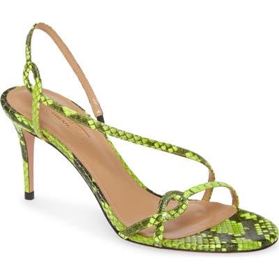 Aquazzura Serpentine Strappy Snake Embossed Sandal - Green
