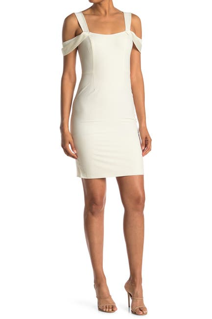 Image of HALSTON Cold Shoulder Open Neck Dress