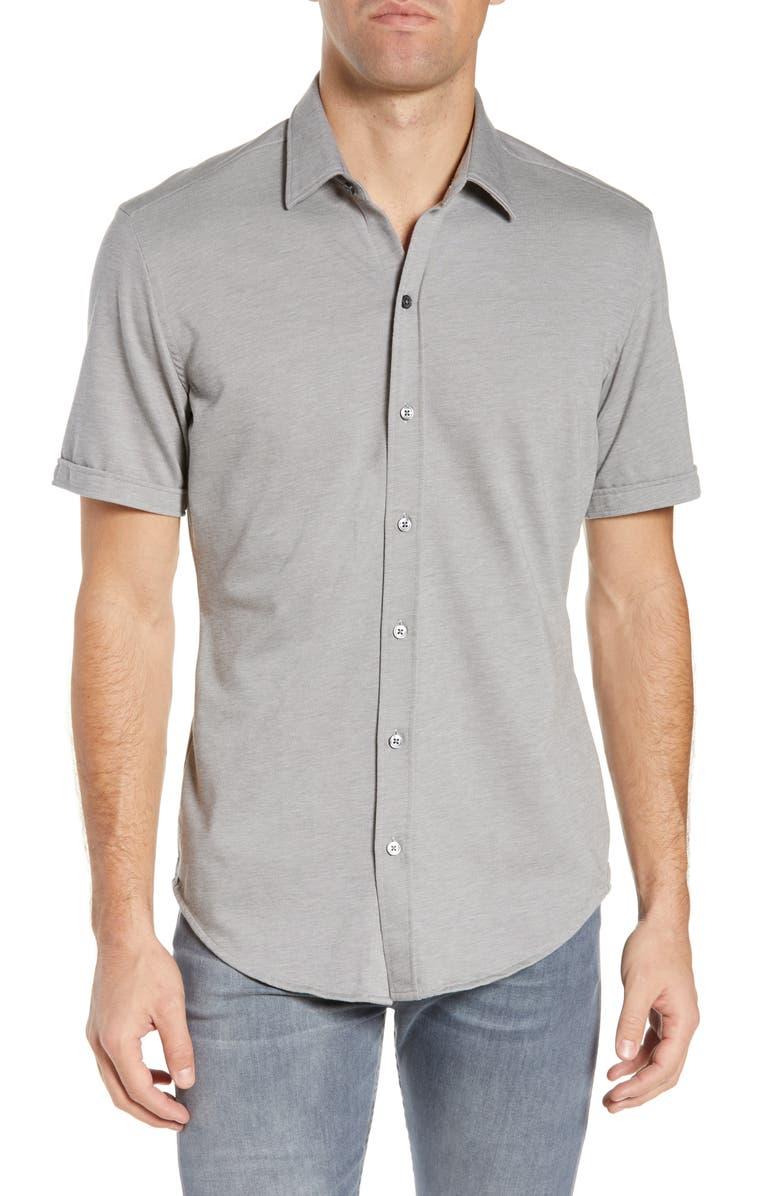 BOSS Robb Sharp Fit Jersey Shirt, Main, color, MEDIUM GREY