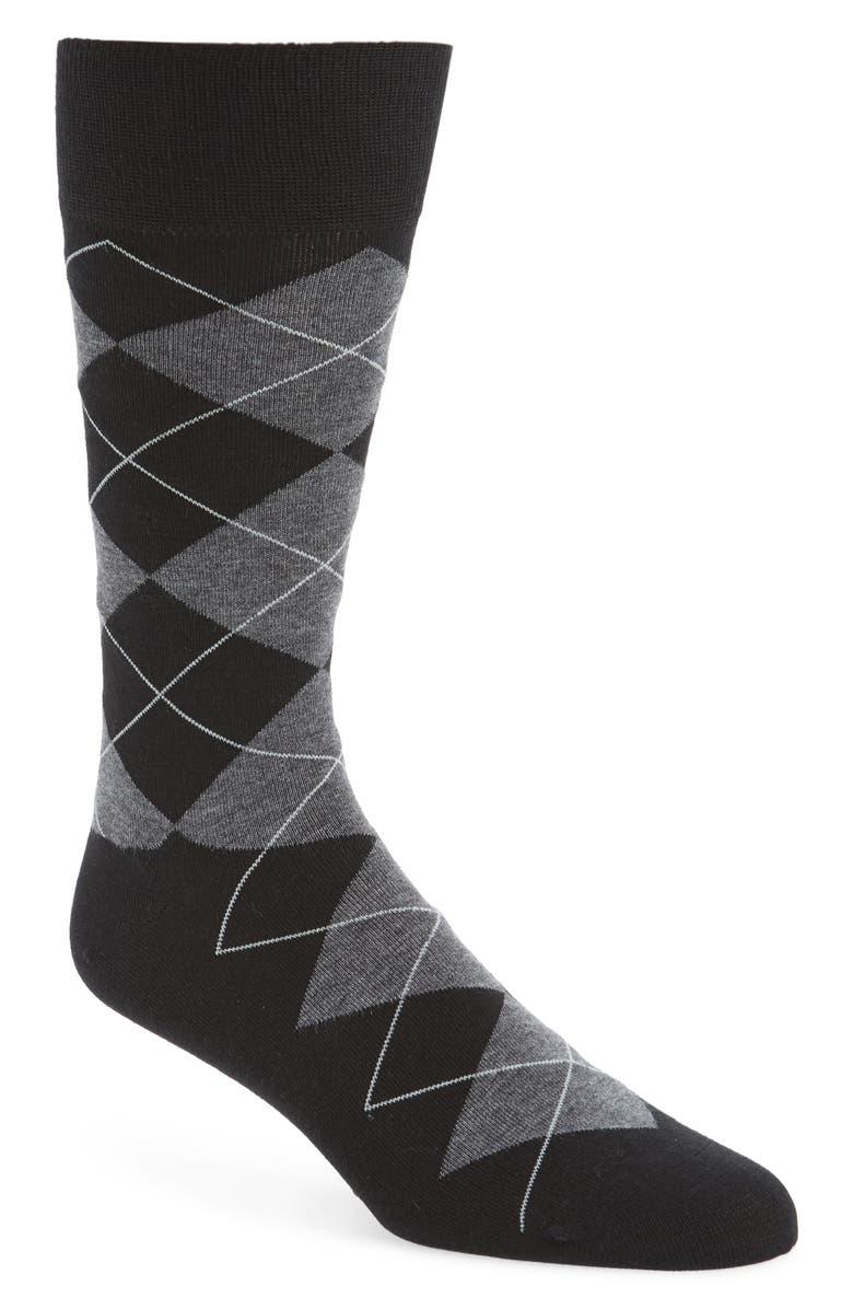 COLE HAAN Argyle Socks, Main, color, BLACK