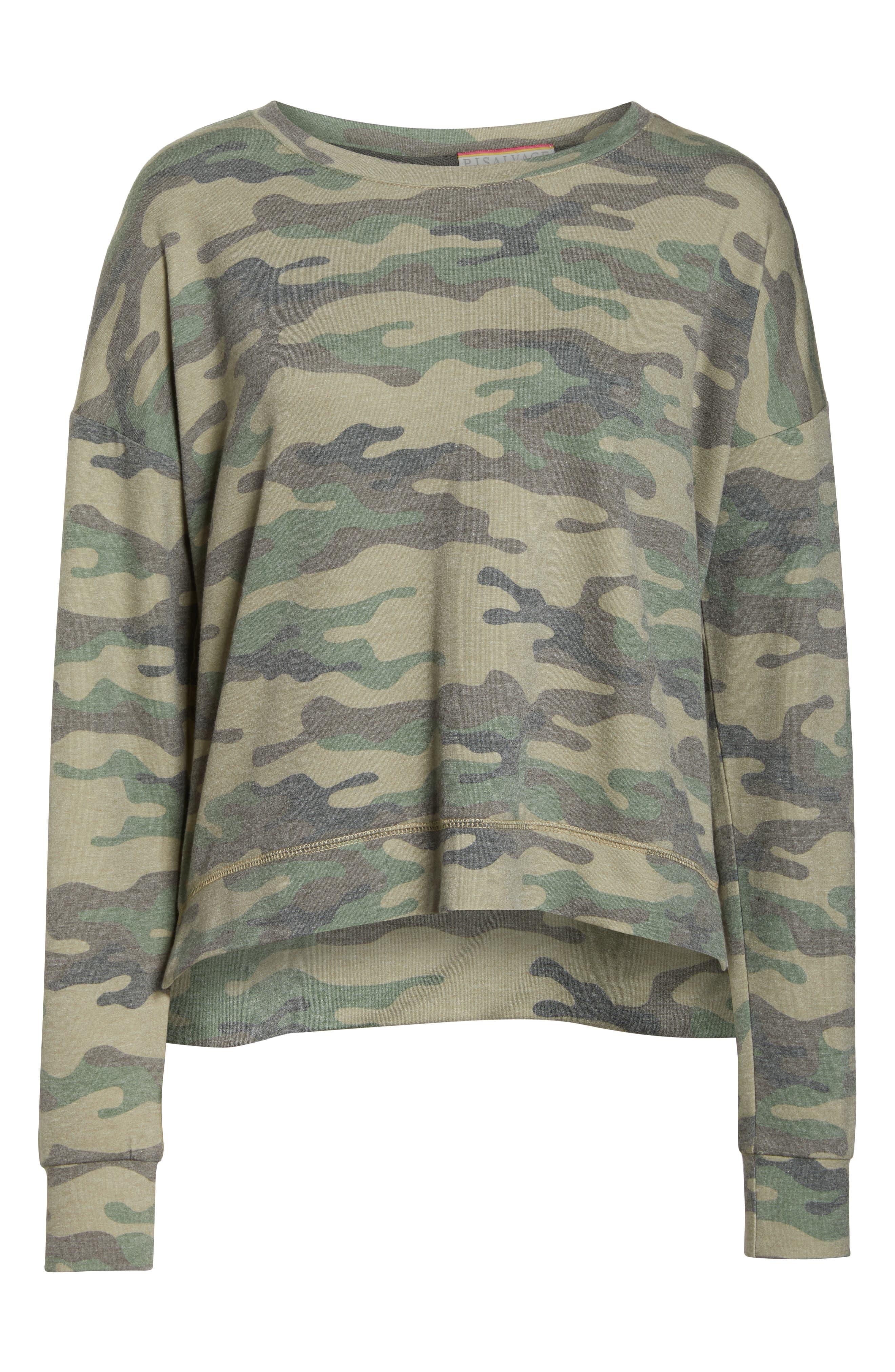 ,                             Camo Lounge Sweatshirt,                             Alternate thumbnail 6, color,                             OLIVE