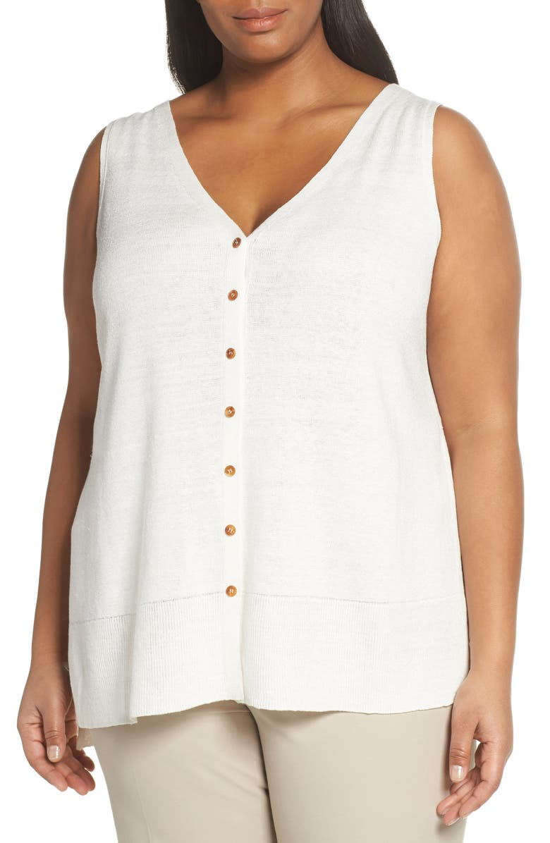 LAFAYETTE 148 NEW YORK Linen Blend Sweater Tank Top, Main, color, 100