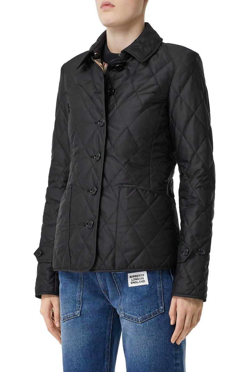 BURBERRY Fernleigh Thermoregulated Diamond Quilted Jacket, Main, color, BLACK