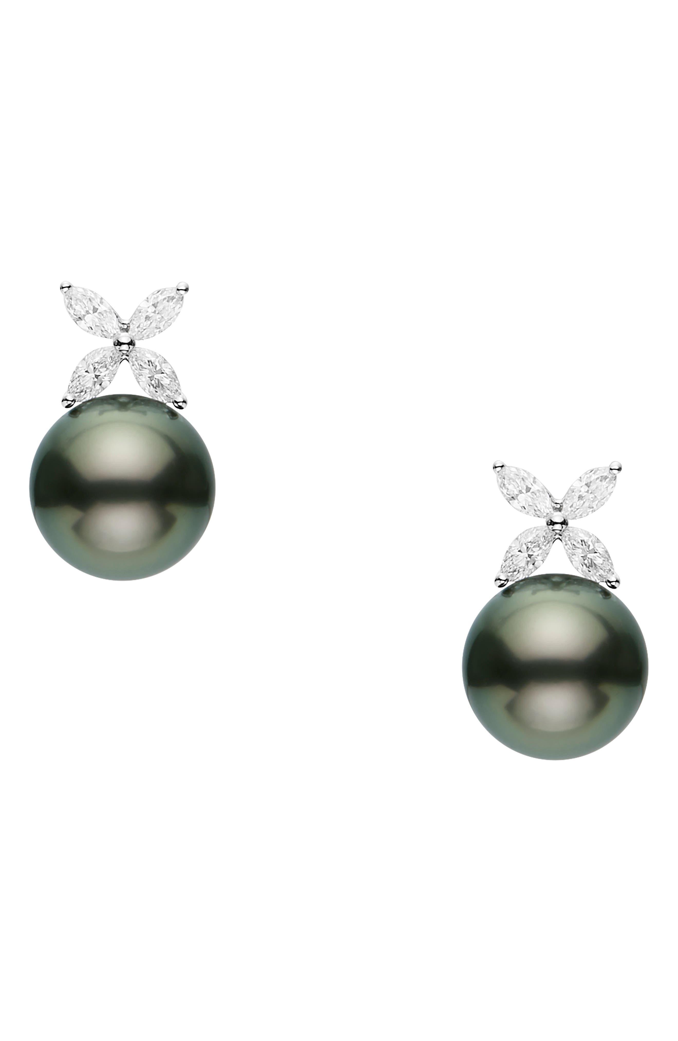 Classic Black Pearl & Diamond Earrings