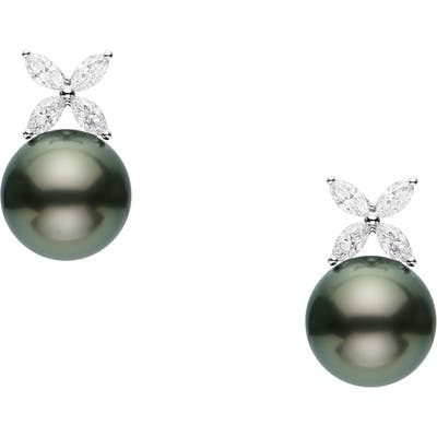 Mikimoto Classic Black Pearl & Diamond Earrings
