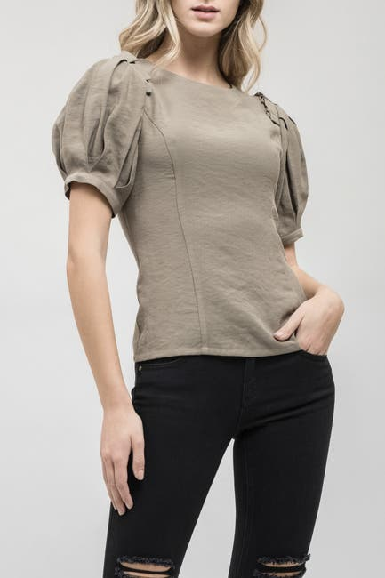 Image of J.O.A. Lace-Up Puff Sleeve Blouse
