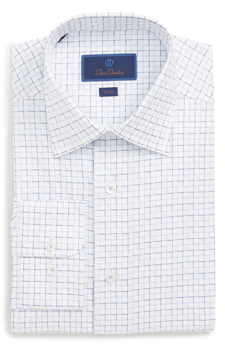 DAVID DONAHUE Trim Fit Check Dress Shirt, Main, color, WHITE/ BLUE