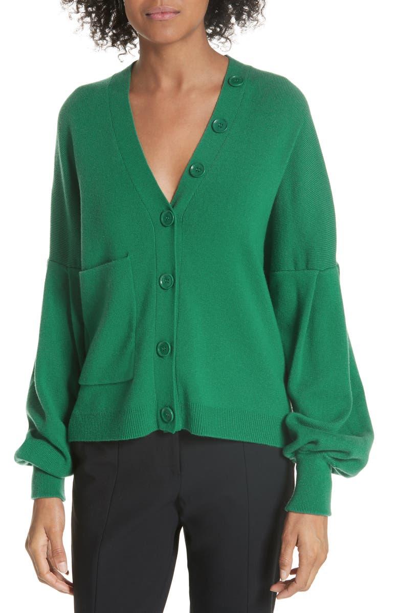 TIBI Pleated Sleeve Cardigan, Main, color, 300