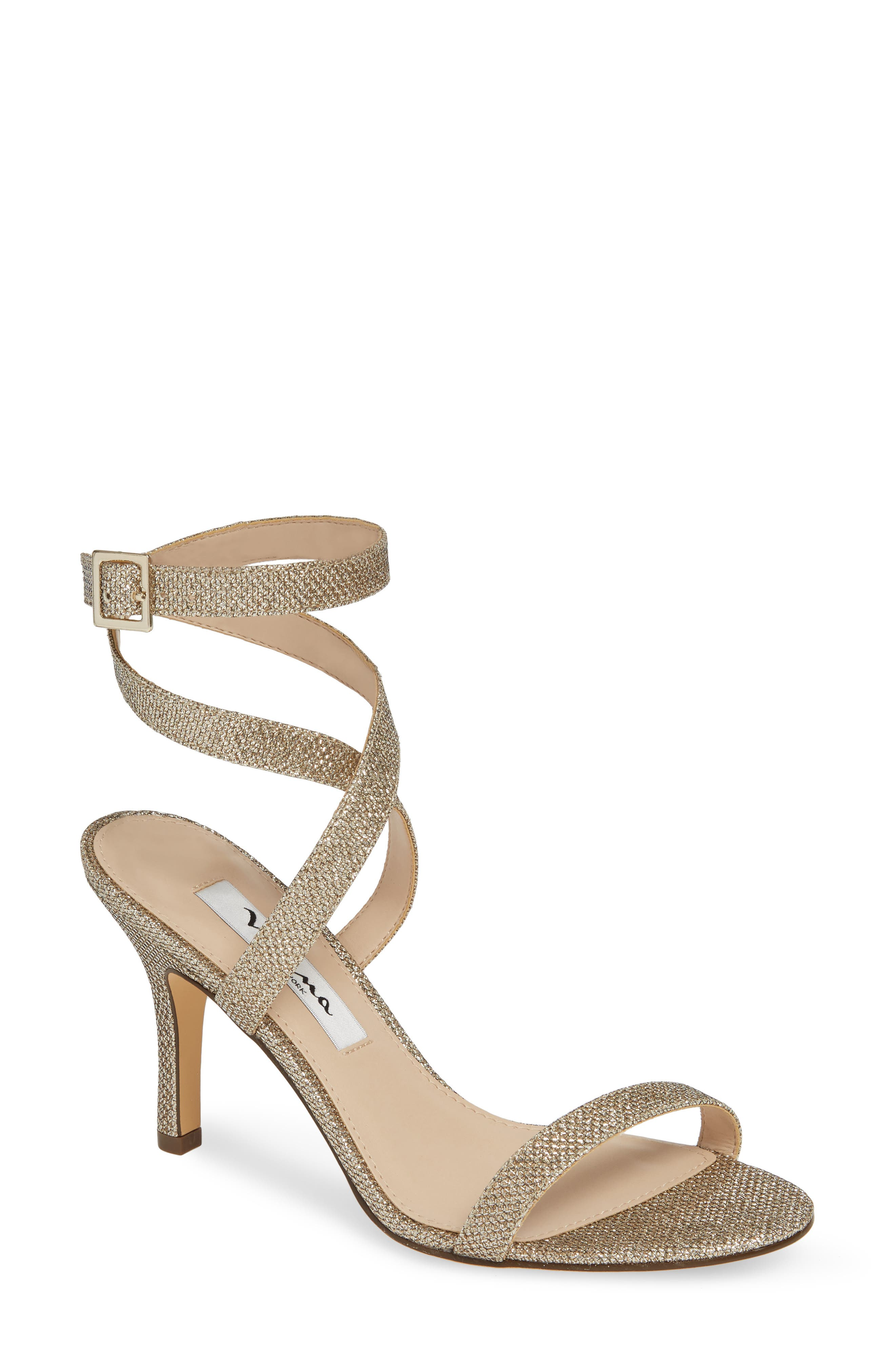 Vanna Ankle Strap Sandal, Main, color, LIGHT GOLD FABRIC