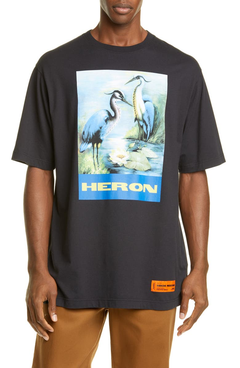 HERON PRESTON Graphic T-Shirt, Main, color, OFF BLACK