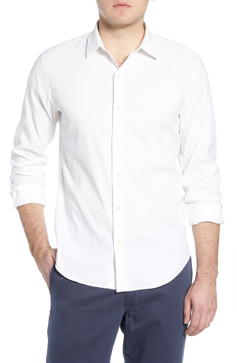 BONOBOS Solid Button-Up Performance Shirt, Main, color, SOLID WHITE