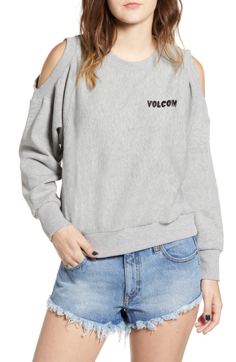 VOLCOM Edit N Crop Logo Sweatshirt, Main, color, GREY HEATHER