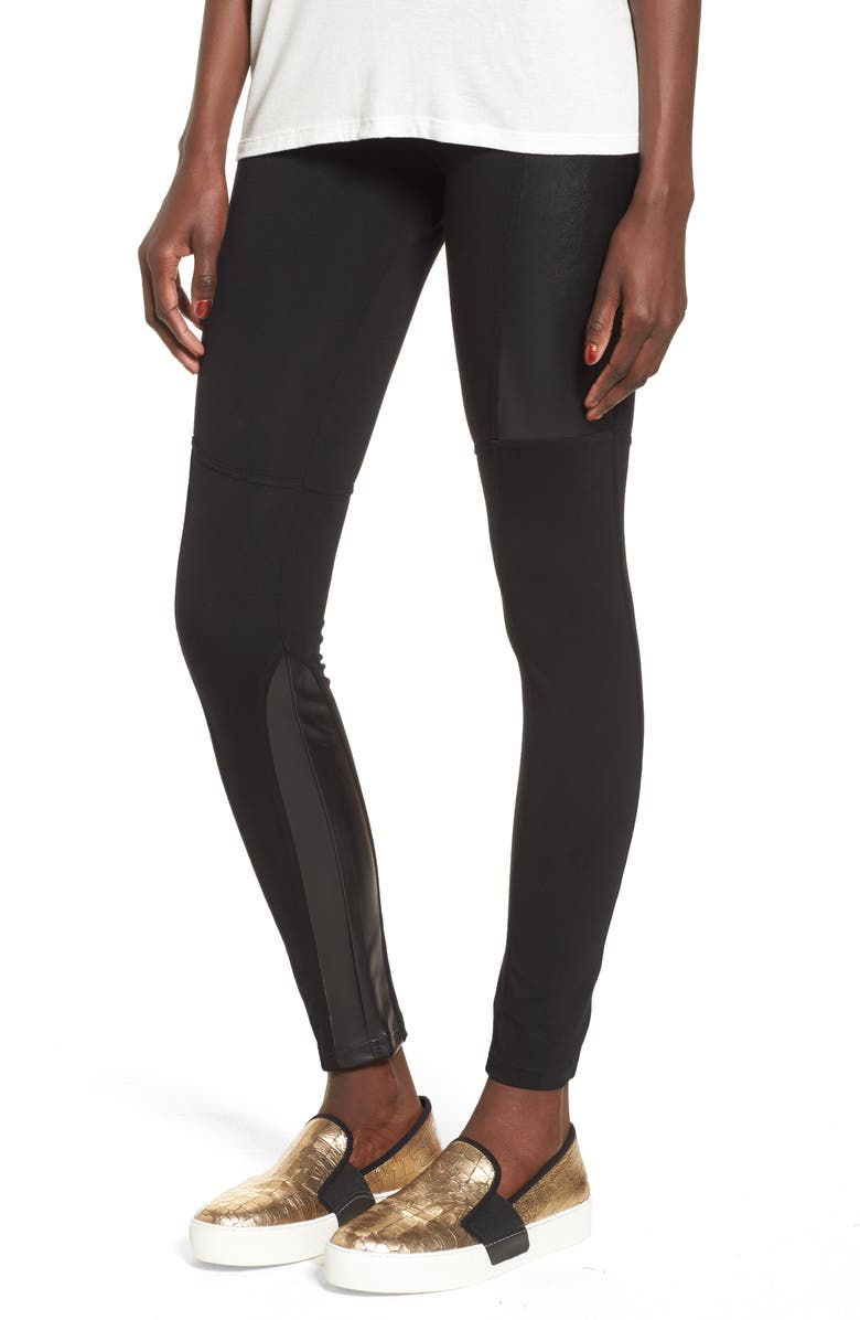 BP. Faux Leather Mixed Moto Leggings, Main, color, 001