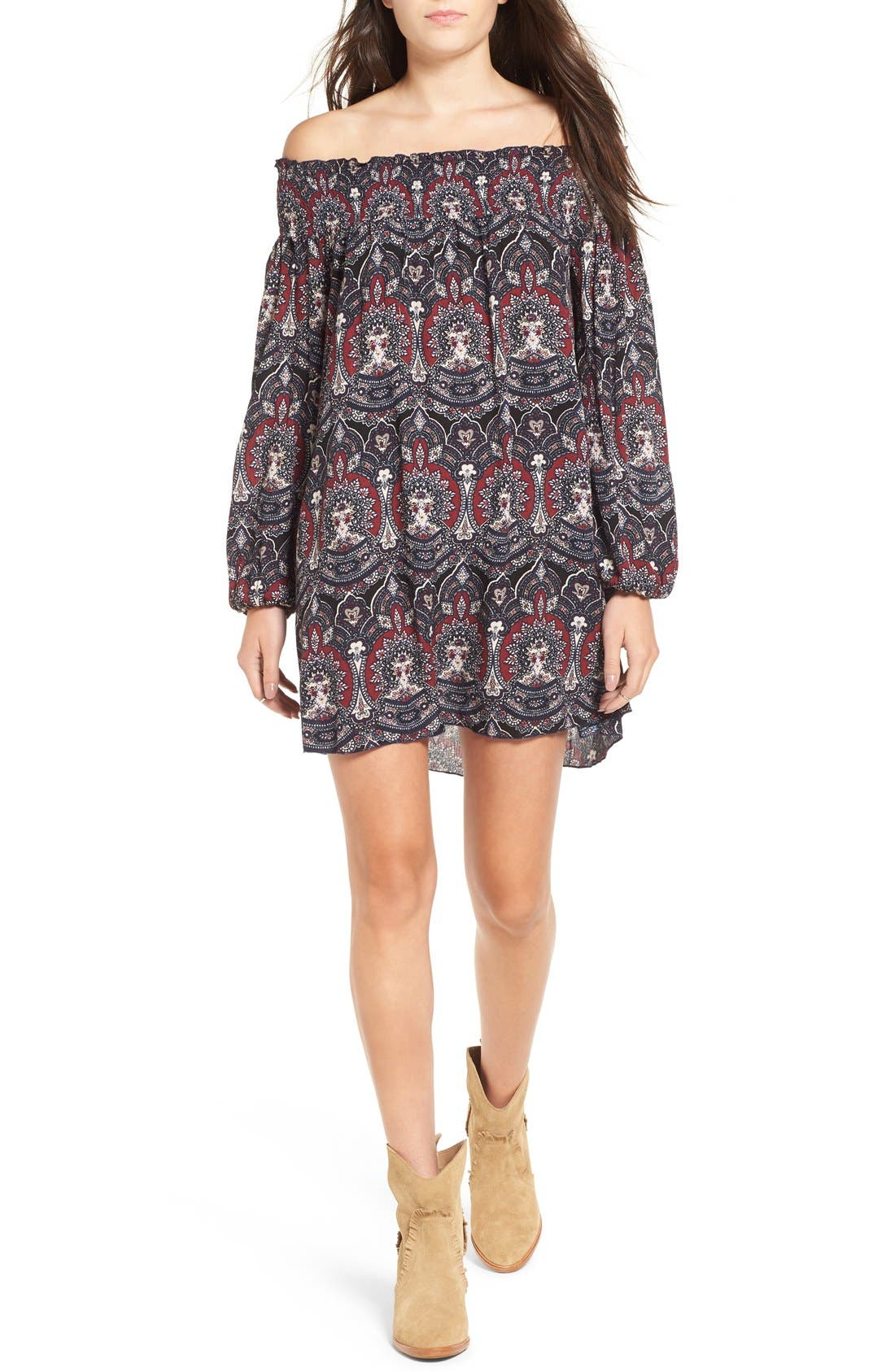 ,                             Floral Print Off the Shoulder Shift Dress,                             Main thumbnail 1, color,                             001
