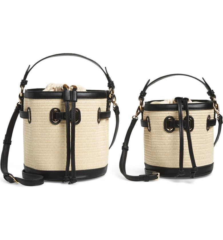 MALI + LILI Gina Set of 2 Twinning Straw Bucket Bags, Main, color, BLACK/ NATURAL