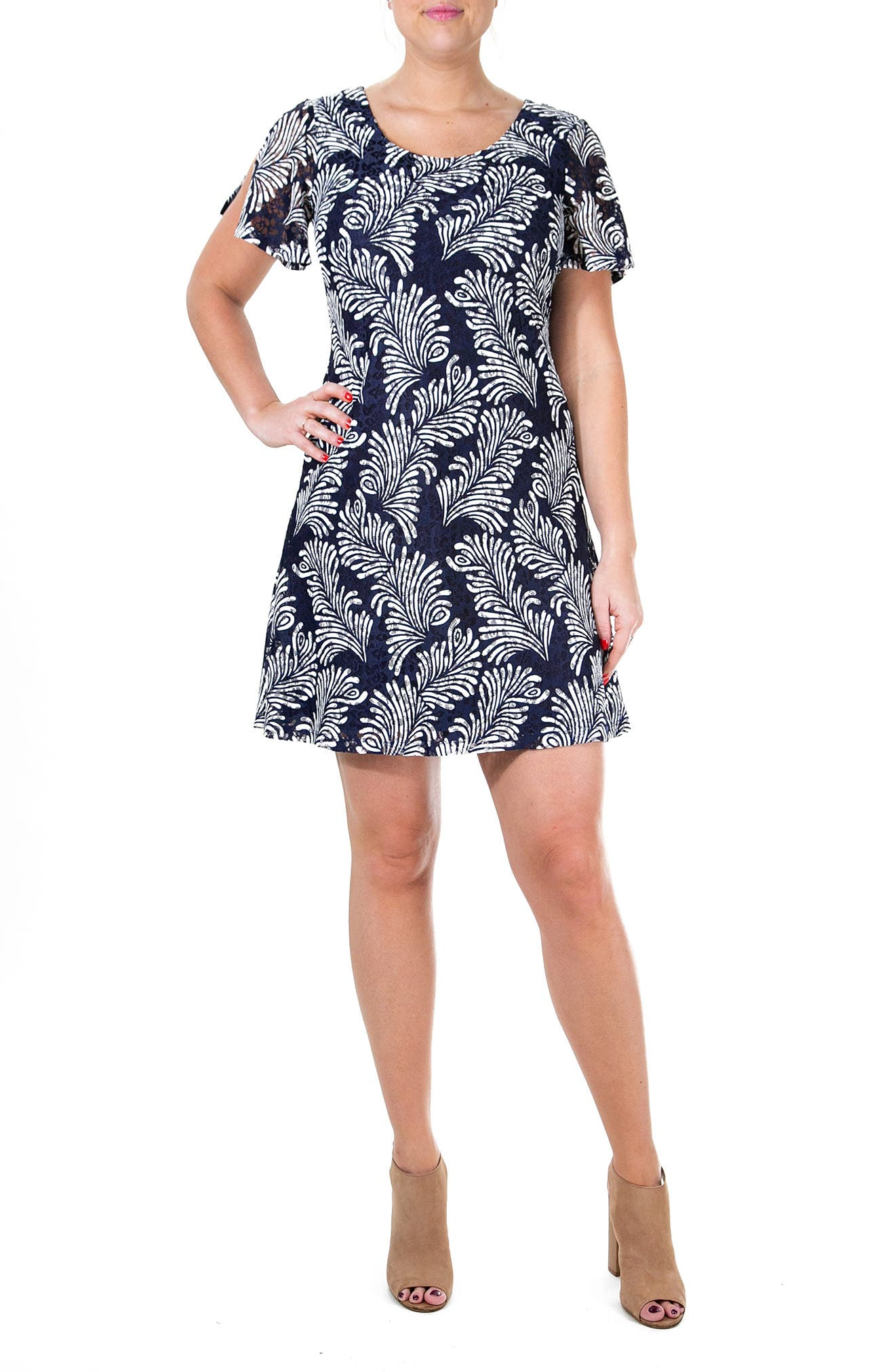 Image of Nina Leonard Printed Lace Flutter Sleeve Dress