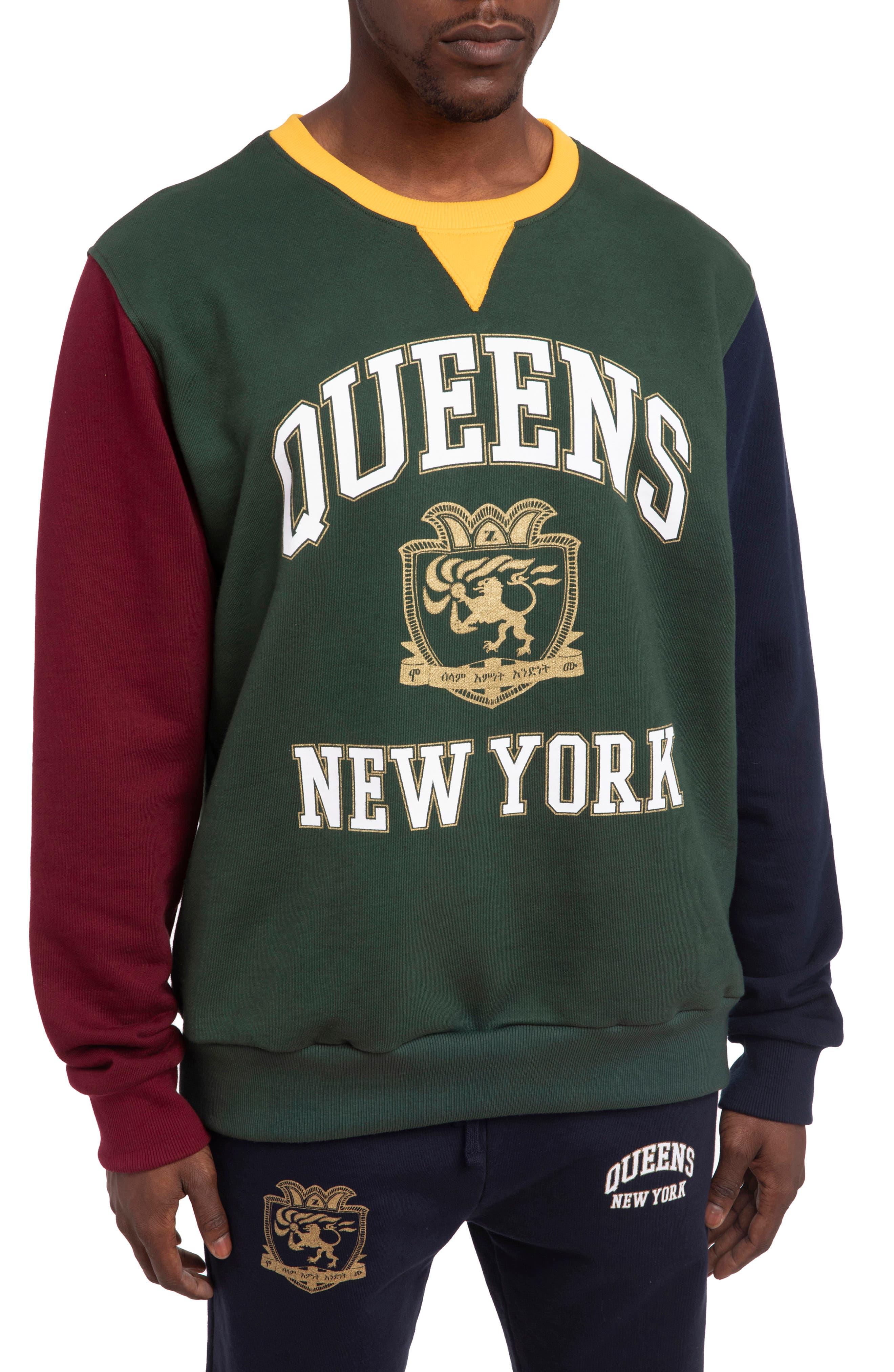 Men's Hstry By Nas X Coming 2 America Queens Oversize Colorblock Sweatshirt