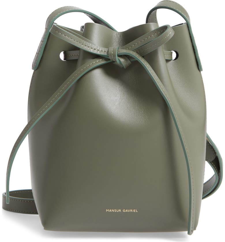 MANSUR GAVRIEL Mini Mini Leather Bucket Bag, Main, color, LEAF