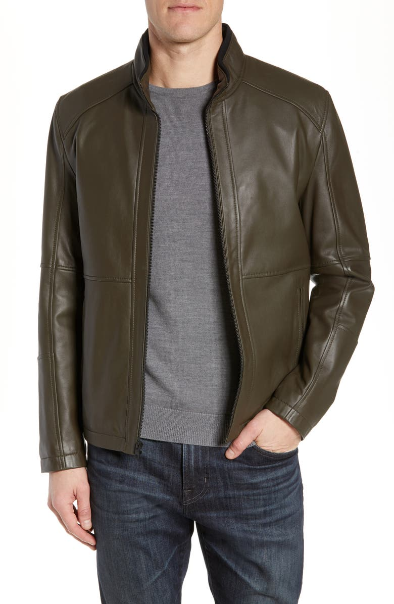 ANDREW MARC Wiley Lambskin Leather Jacket, Main, color, MILITARY