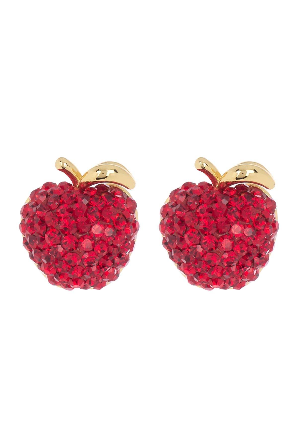 pave crystal small apple stud earrings