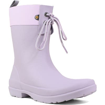 Bogs Flora Lace Top Waterproof Rain Boot, Purple
