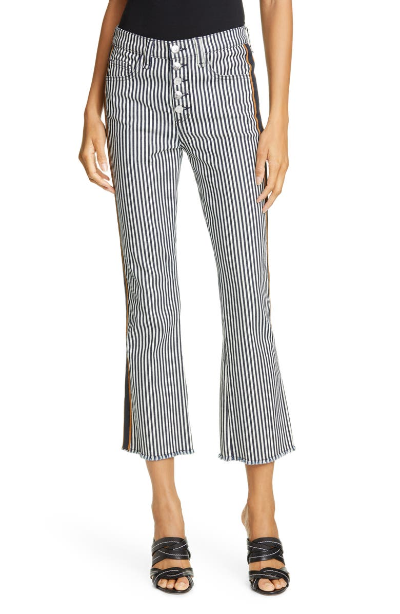 VERONICA BEARD Carolyn Stripe Crop Baby Bootcut Pants, Main, color, STRIPE DENIM