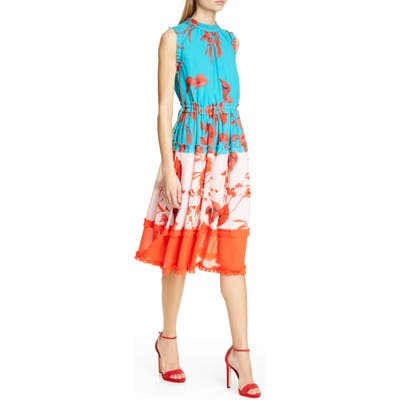Ted Baker London Camelis Fantasia Tiered Midi Dress, Blue