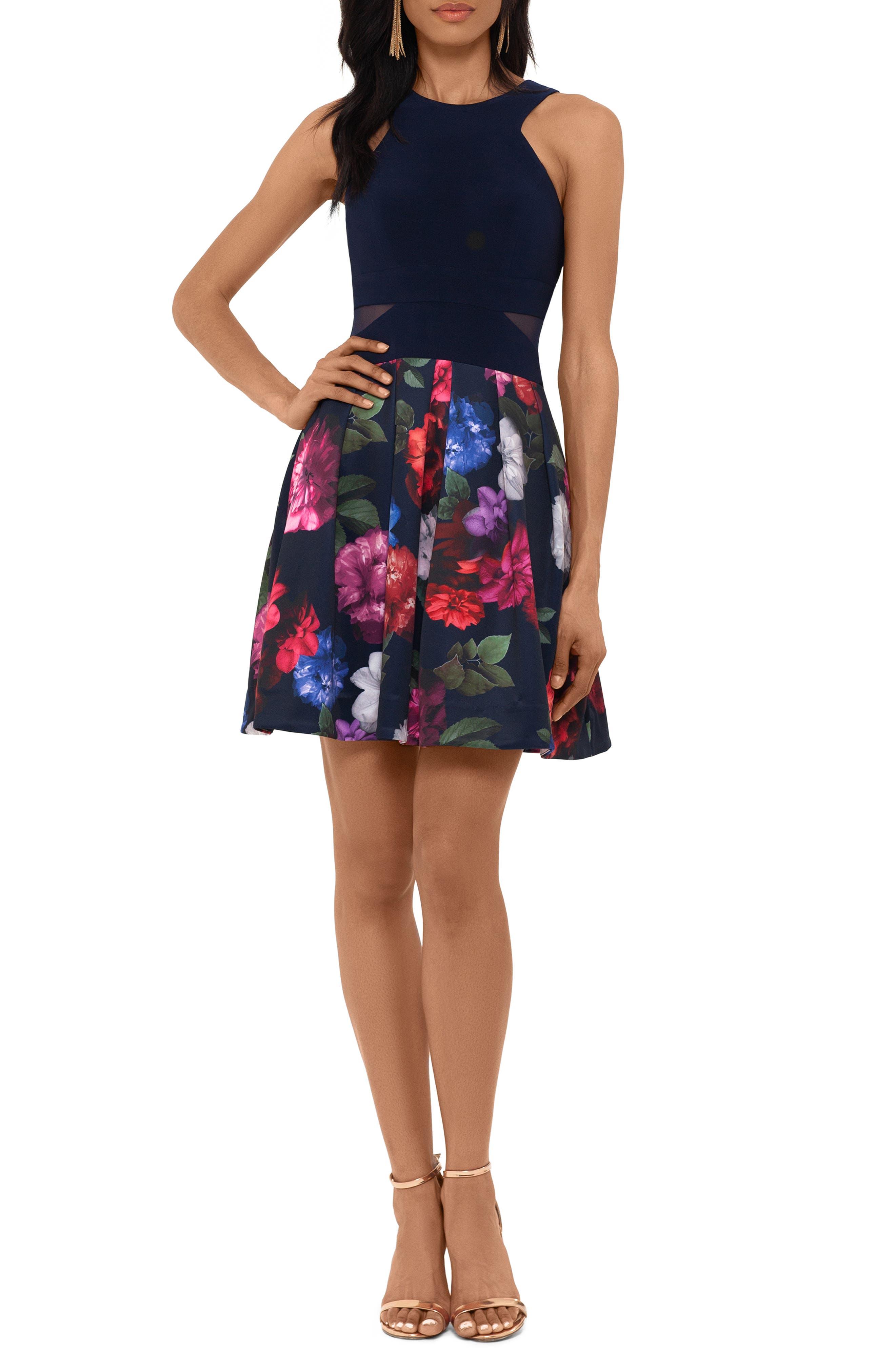 Xscape Floral Cocktail Dress, Blue