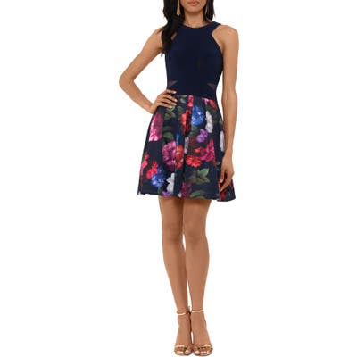 Xscape Floral Cocktail Dress, Blue