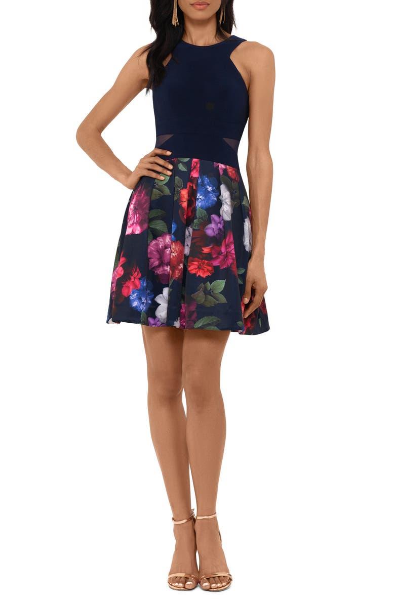 XSCAPE Floral Cocktail Dress, Main, color, NAVY/ MULTI