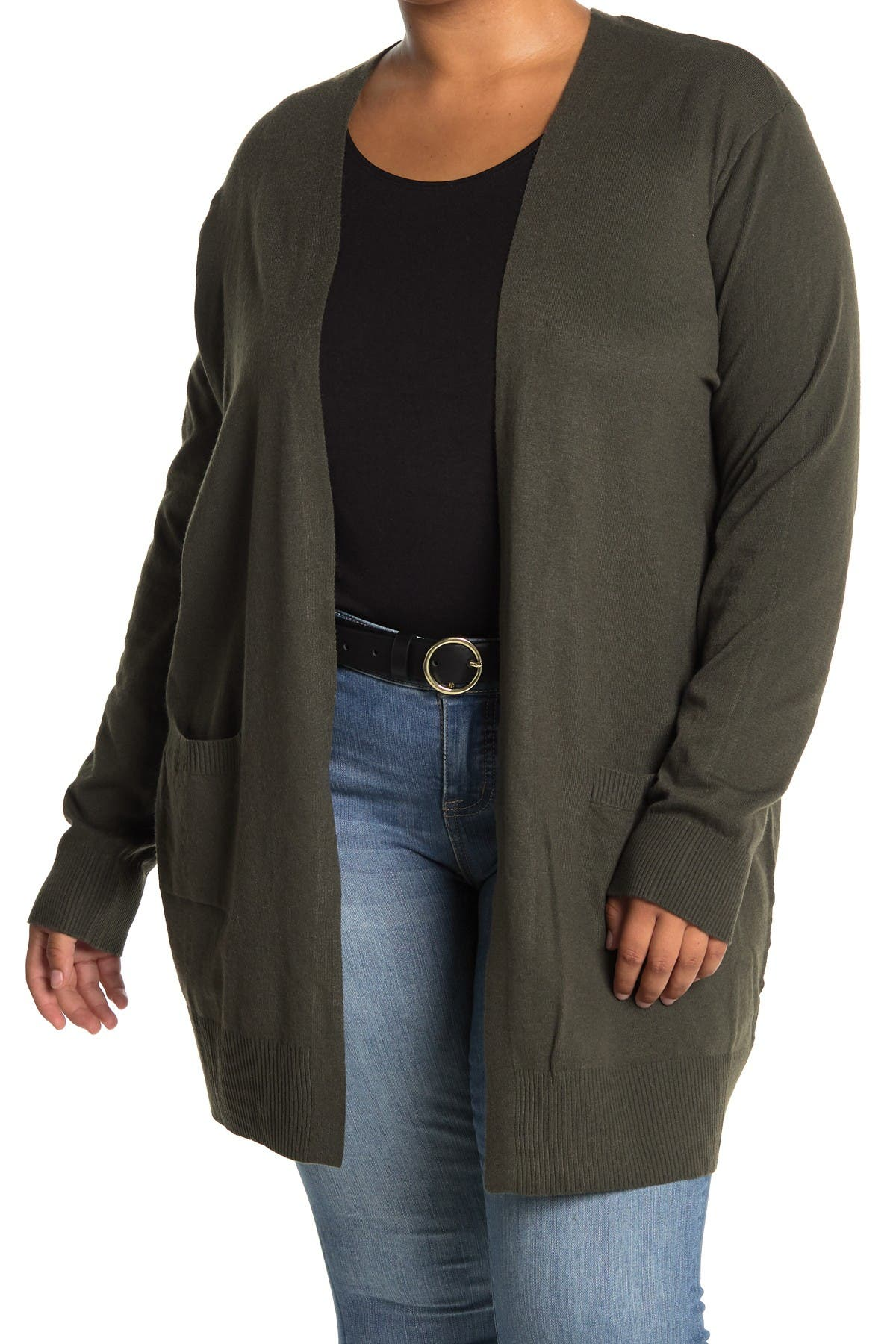 Image of Sweet Romeo Open Front Pocket Long Cardigan