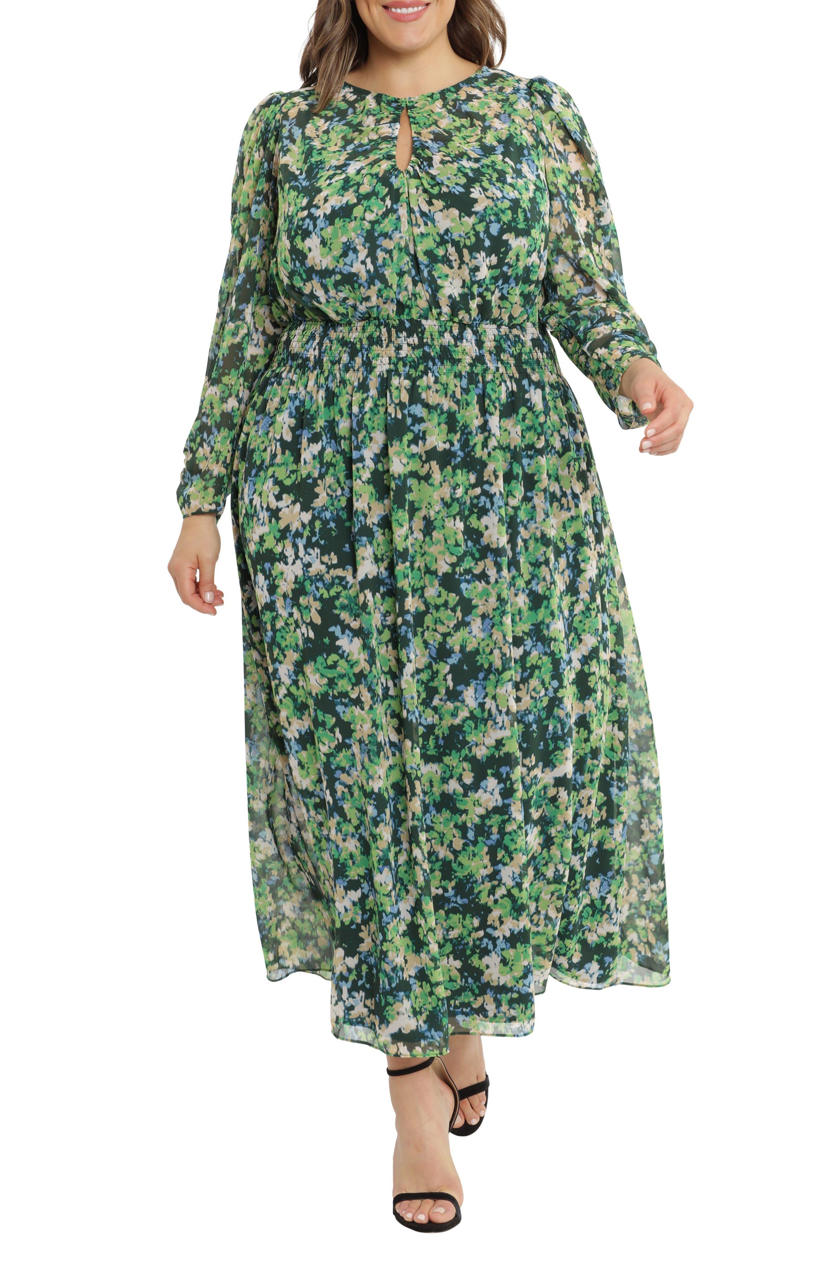 Long Sleeve Floral Smocked Waist Maxi Dress