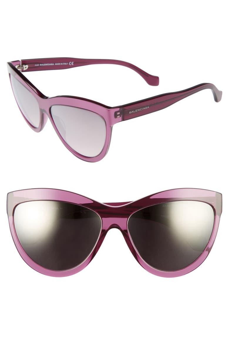 BALENCIAGA 60mm Sunglasses, Main, color, TRANSPARENT PURPLE/ SILVER